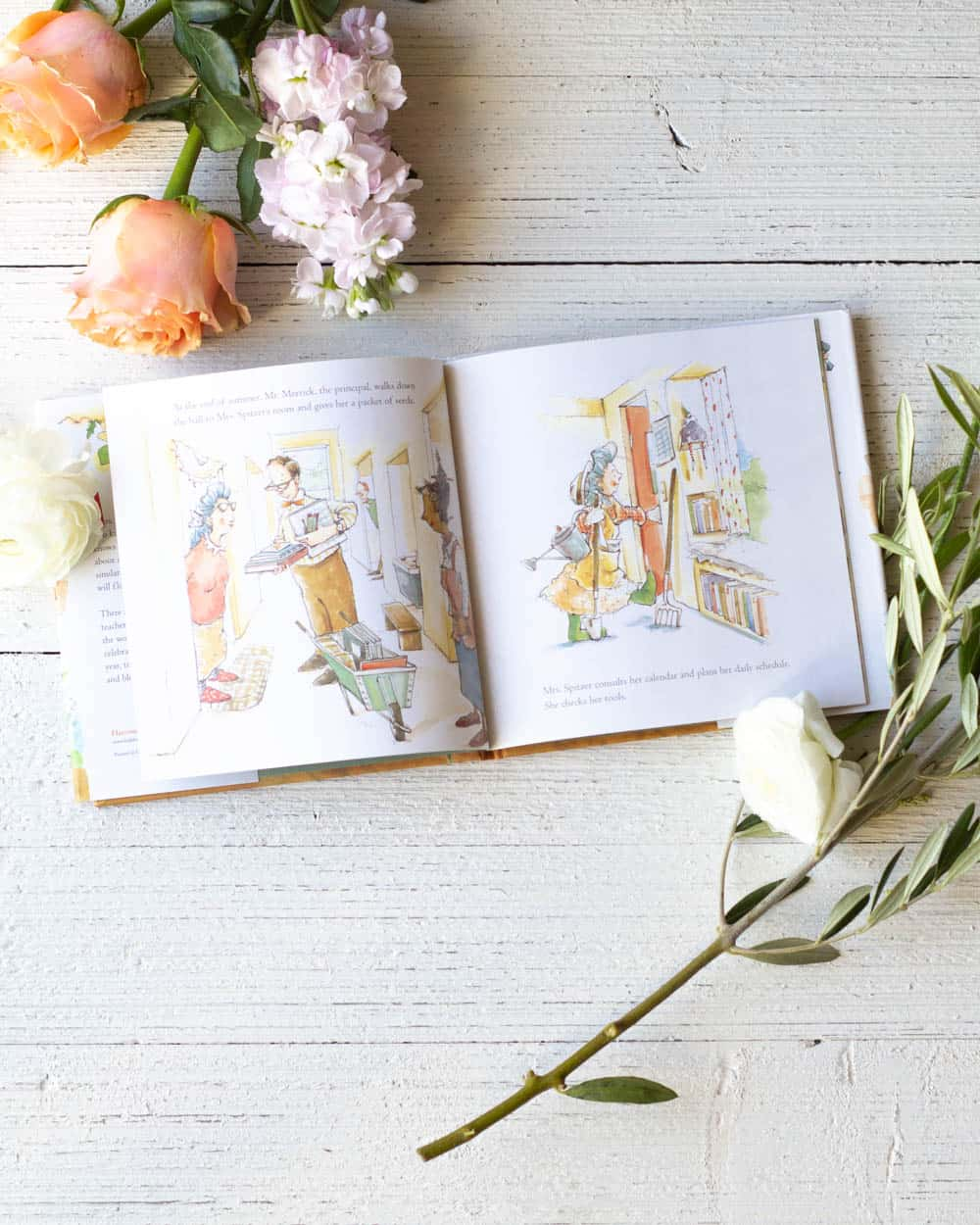 Interior pages of a picture book about gardening and teachers.