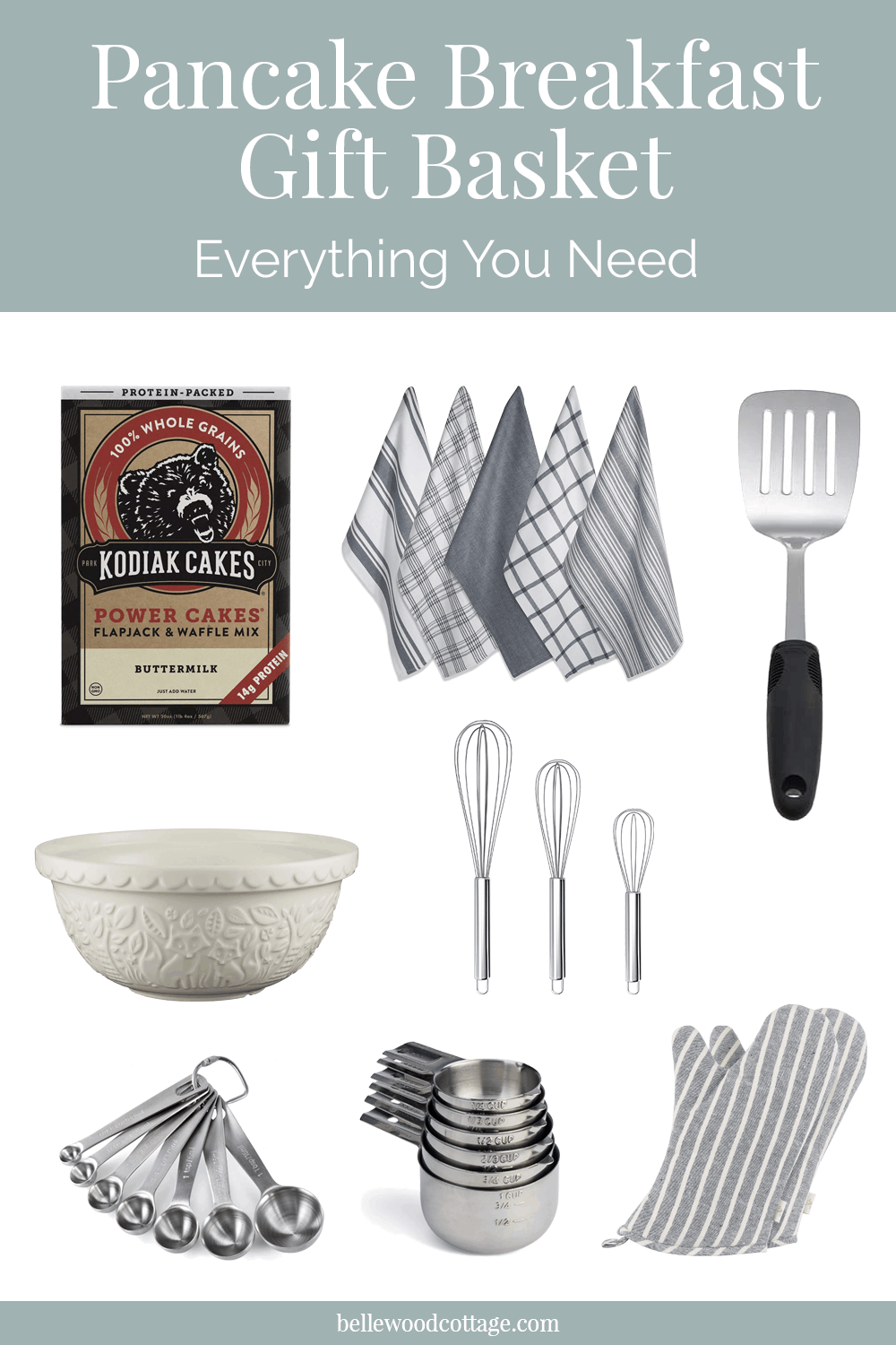 A selection of products needed to create a pancake breakfast gift basket.