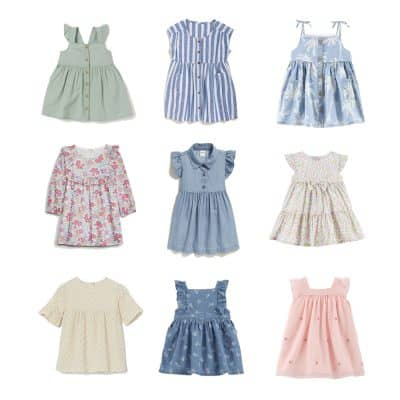 A collage of summer dresses for baby girls.