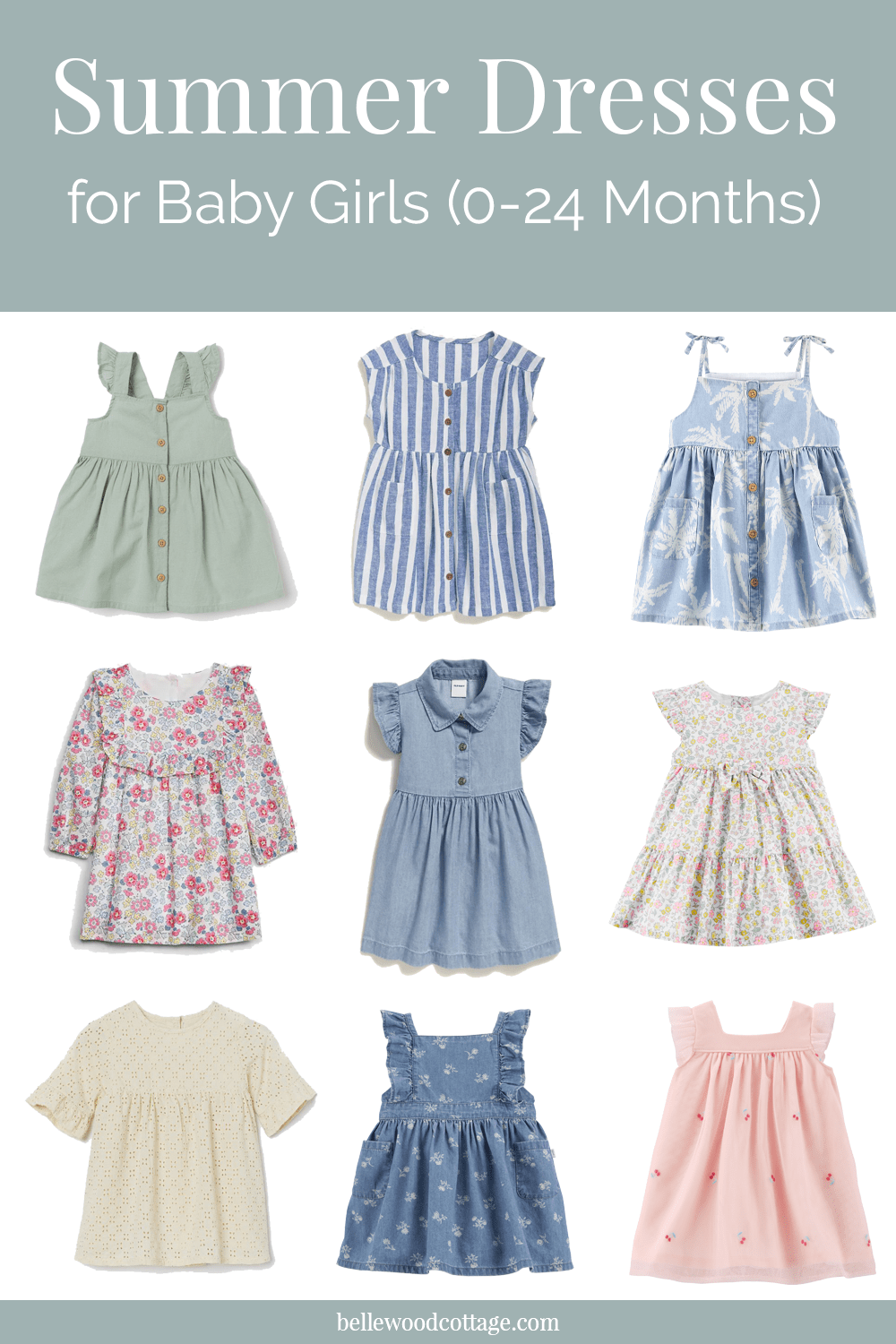 Collage image of summer dresses for baby girls.