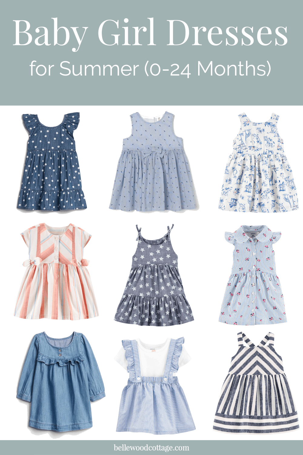A collage of mainly blue summer dresses for baby girls.