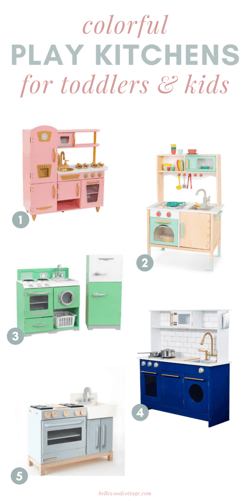 Play kitchens ranging in colors from pink to blue to green, displayed on a white background.