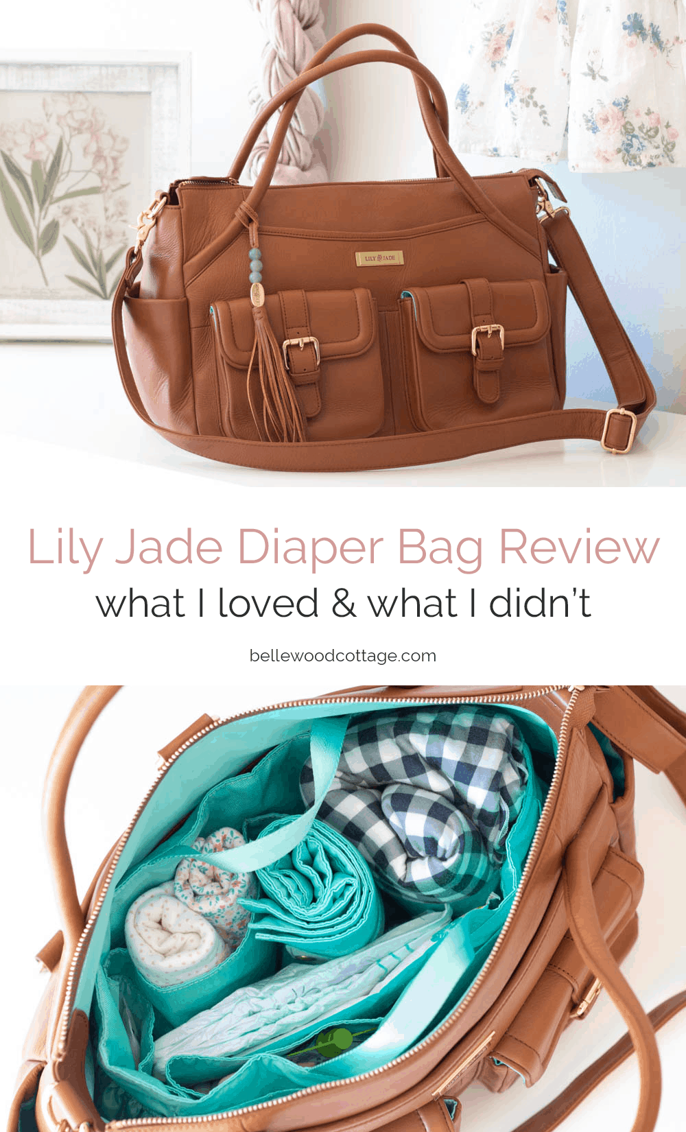 "A collage image of a large diaper bag and the interior view of the packed diaper bag with the words, ""Lily Jade Diaper Bag Review"" across the image."