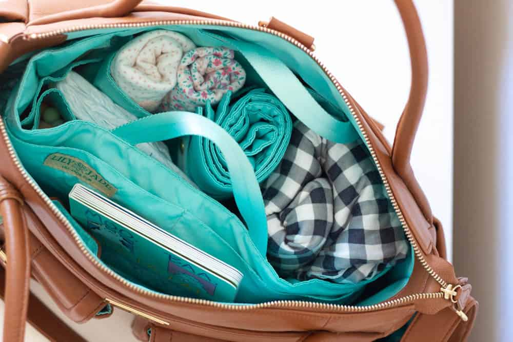 The inside view of my packed Lily Jade Diaper Bag.