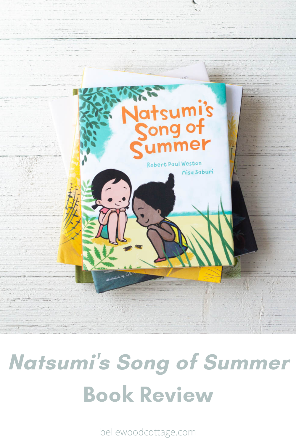 A picture book (titled Natsumi's Song of Summer) on a wooden background.