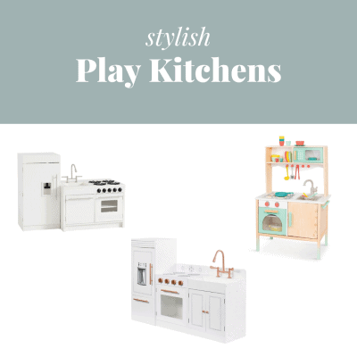 """Three play kitchens on a white background with the text, """"Stylish Play Kitchens."""""""