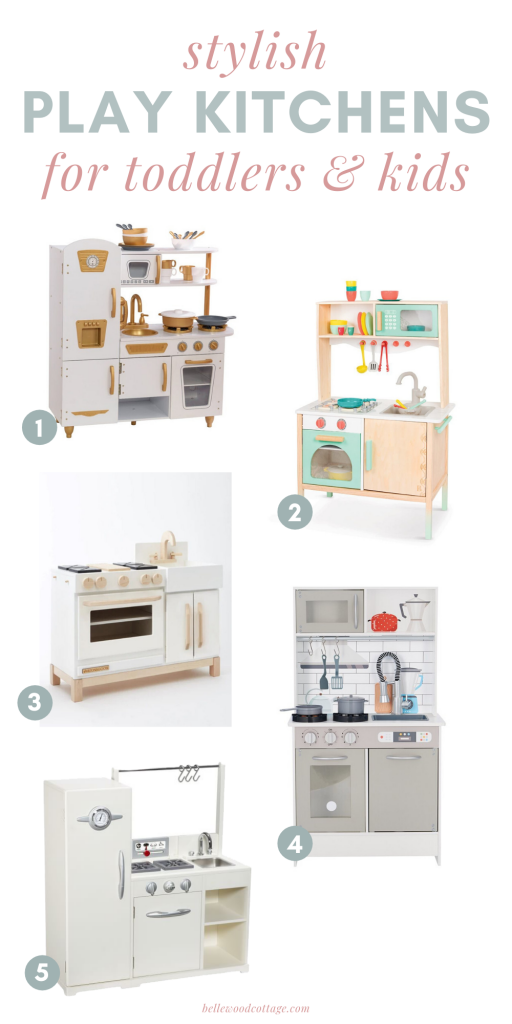 Five toddler play kitchens on a white background.
