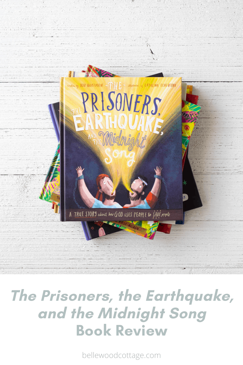 The cover of a new kids' book--The Prisoners, the Earthquake, and the Midnight Song.