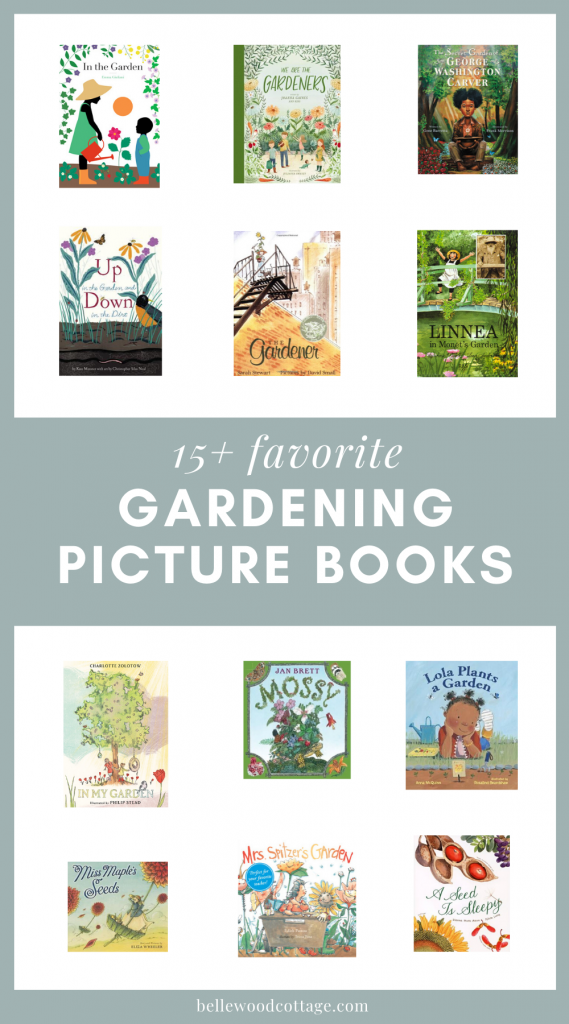A selection of book covers of gardening picture books for kids.