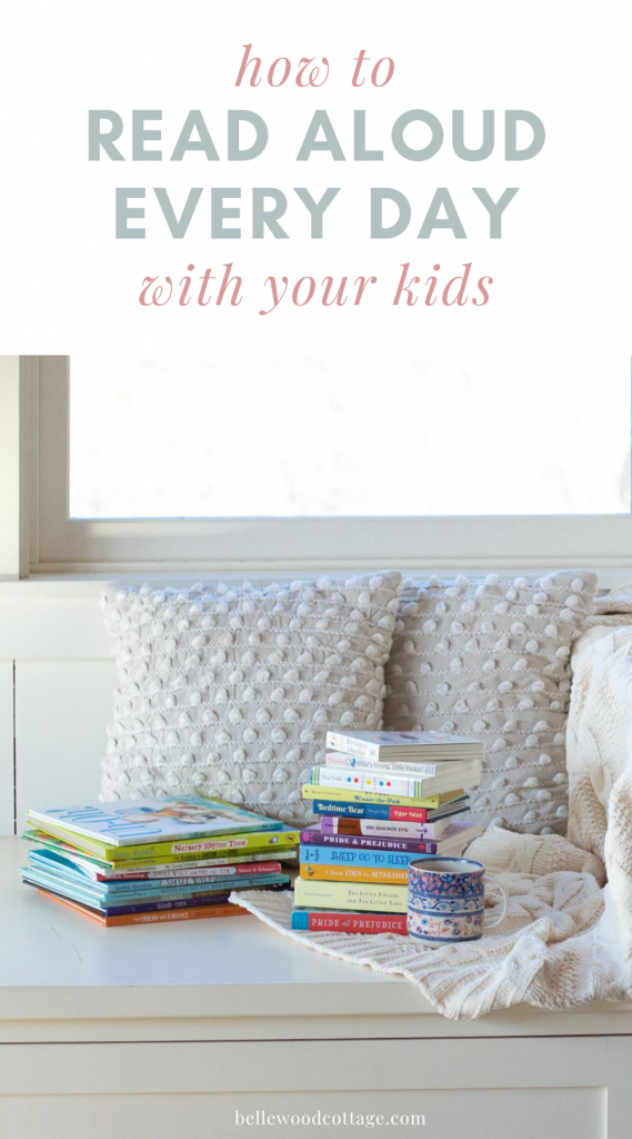 "Kids' books on a window seat with the words, ""How to Read Aloud Every Day with Your Kids"""
