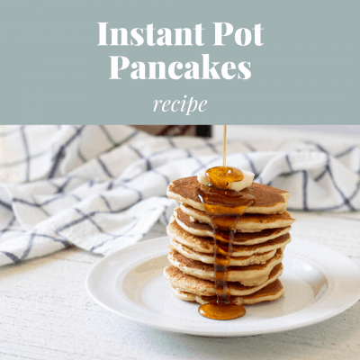 Stack of pancakes on a white plate in front of an Instant Pot.