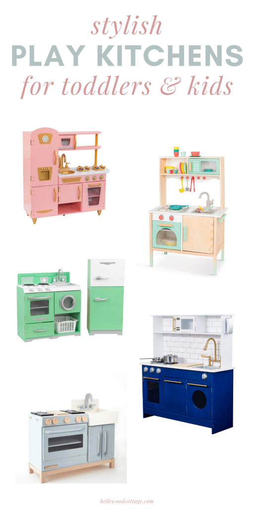 Five colorful play kitchens on a white background.