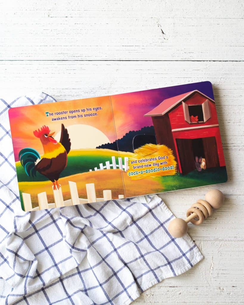 Interior pages of a new board books for kids, The Great Farmapalooza, on a wooden background.