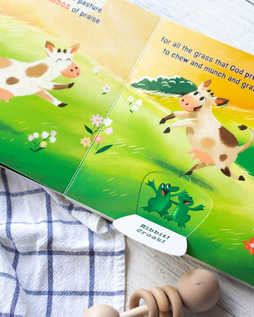Lift-the-flap page in a farm animal board book.