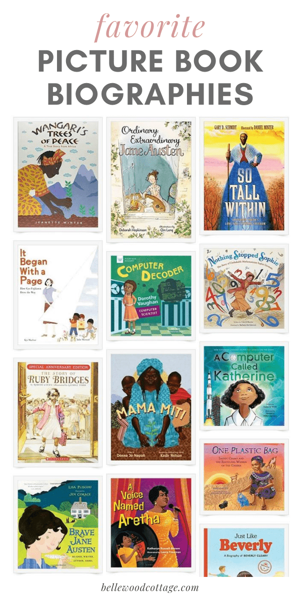A collage image of favorite picture book biographies of women in history (women include Gyo Fujikawa, Jane Austen, Aretha Franklin, and Beverly Cleary).