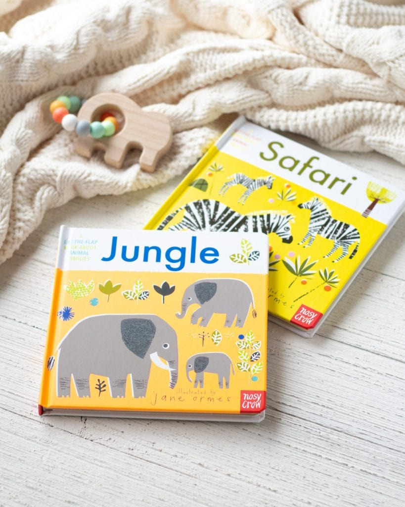 "Two animal families board books from Nosy Crow, entitled ""Jungle"" and ""Safari"" on a wooden surface."