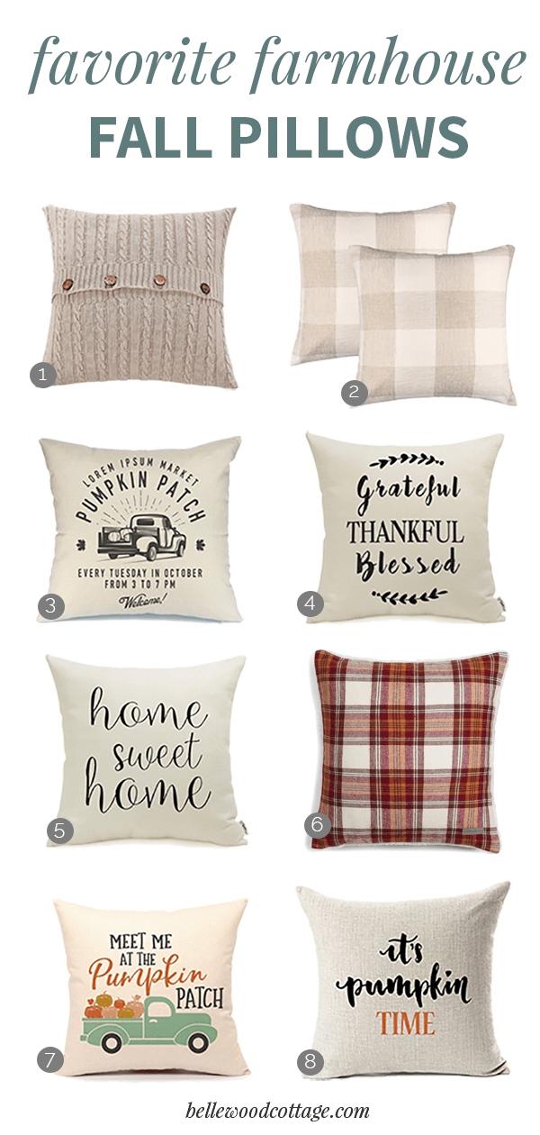 """Eight farmhouse style fall pillow covers in a collage image with the words, """"Favorite Farmhouse Fall Pillows"""""""
