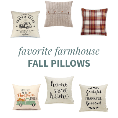 "Six farmhouse style fall pillow covers in a collage with the words, ""Favorite Farmhouse Fall Pillows"""