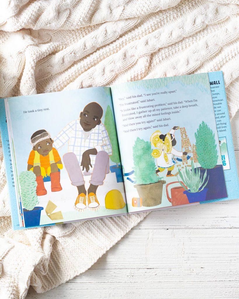 The inside pages of a picture book called Jabari Tries.