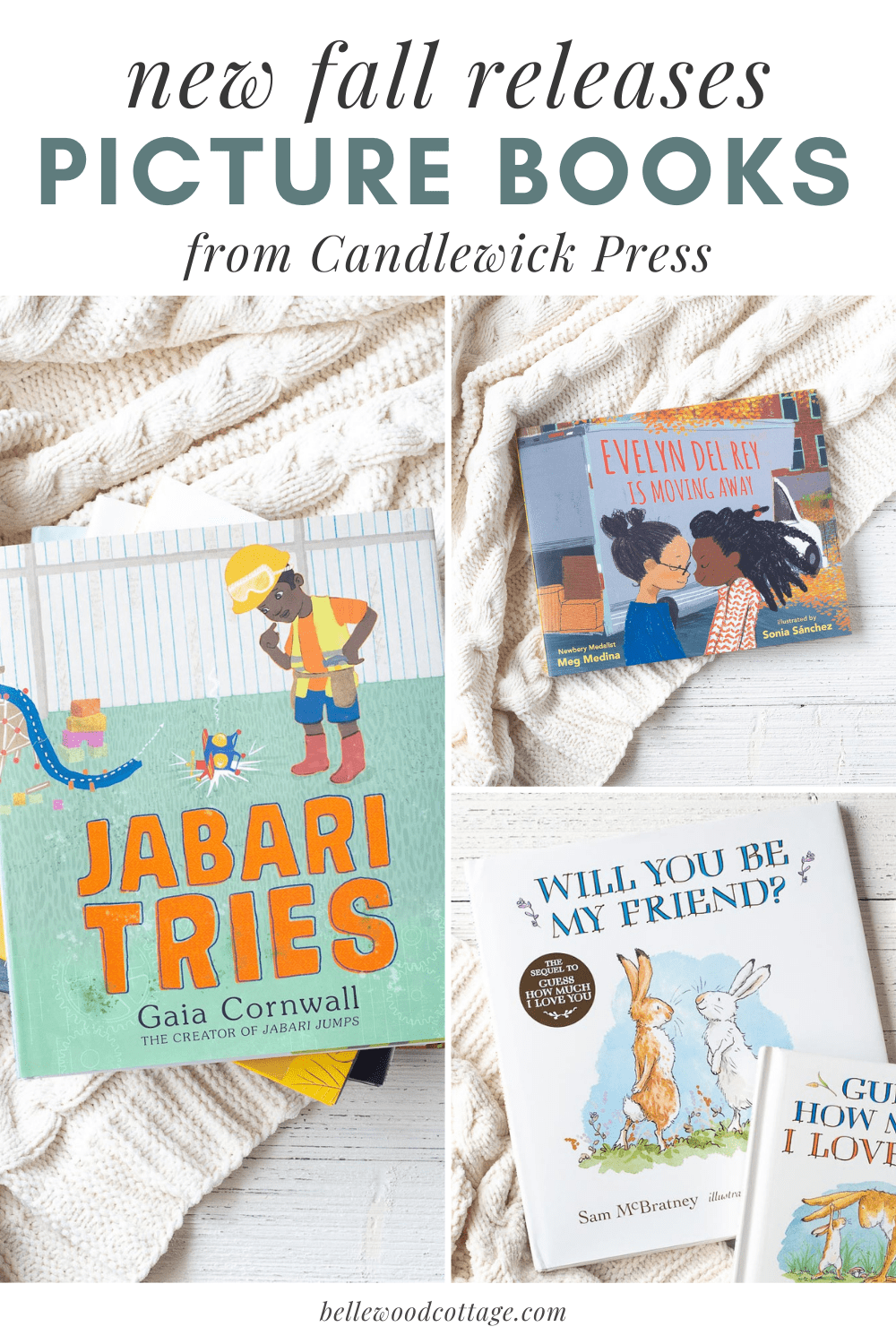 """A collage image of several children's picture books with the words, """"New fall releases: Picture books from Candlewick Press"""""""