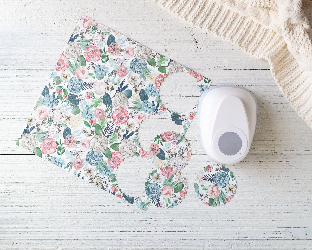 Scrapbook paper and a paper punch.