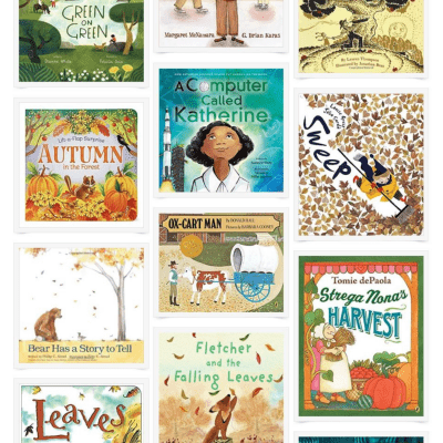 A collage of kids' picture books about fall.