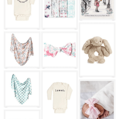 A collage image showing various baby gifts for babies ages 0-3 months, like onesies, blankets, and books.