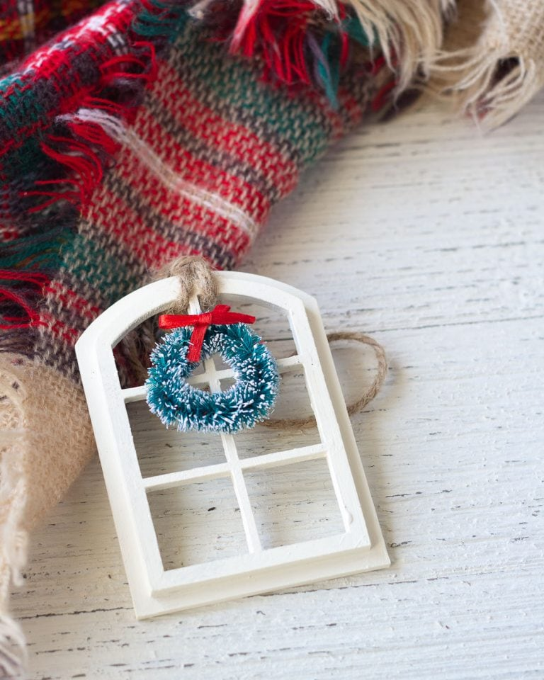 DIY Christmas Window Ornament Using Chalk-Style Paint