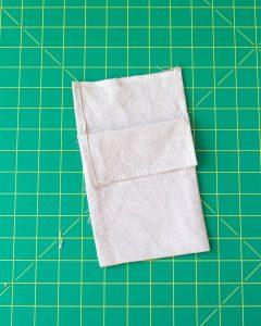 Sewing a drawstring bag from linen - progress photo.