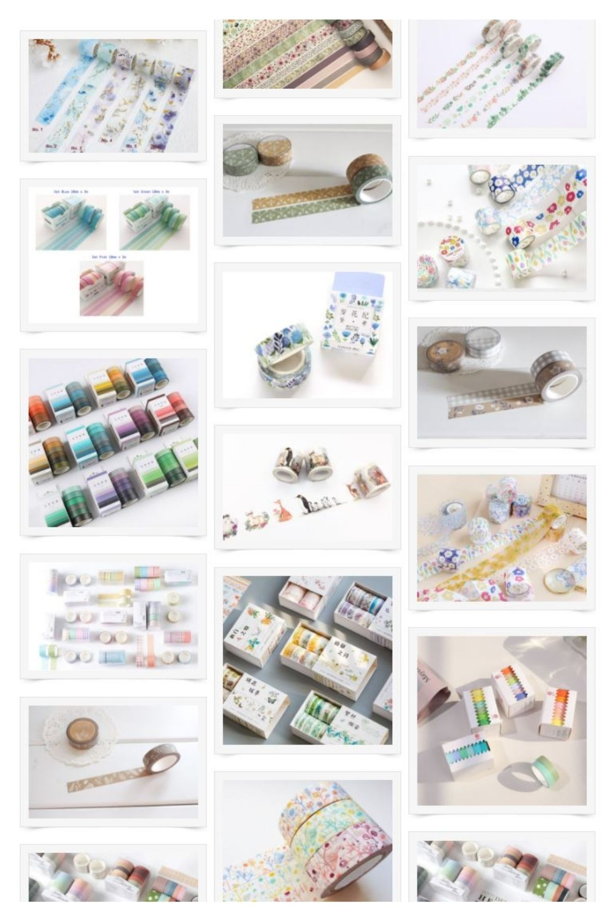 A collage of washi tape from various Etsy shops.