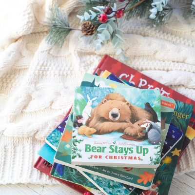 A stack of Christmas picture books for kids.