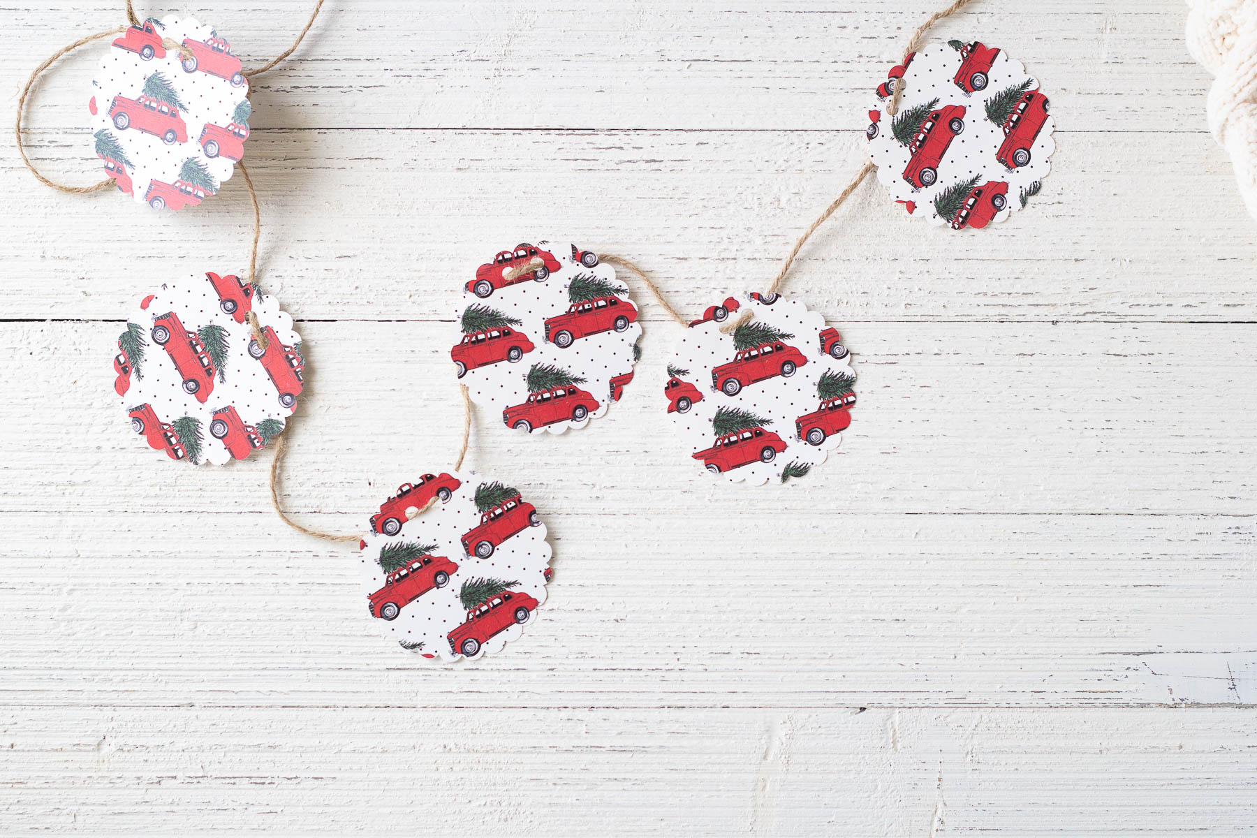 A garland made from scrapbook paper circles and twine.