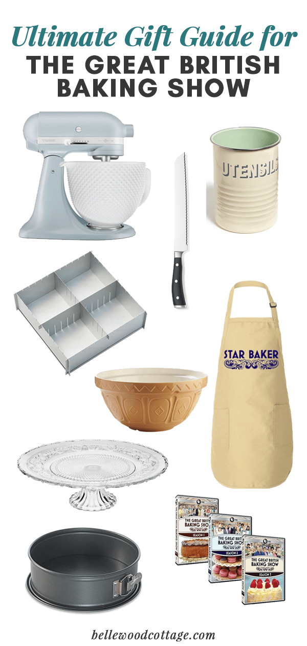 "A selection of baking products in a collage with the text, ""Ultimate Gift Guide for the Great British Baking Show."""