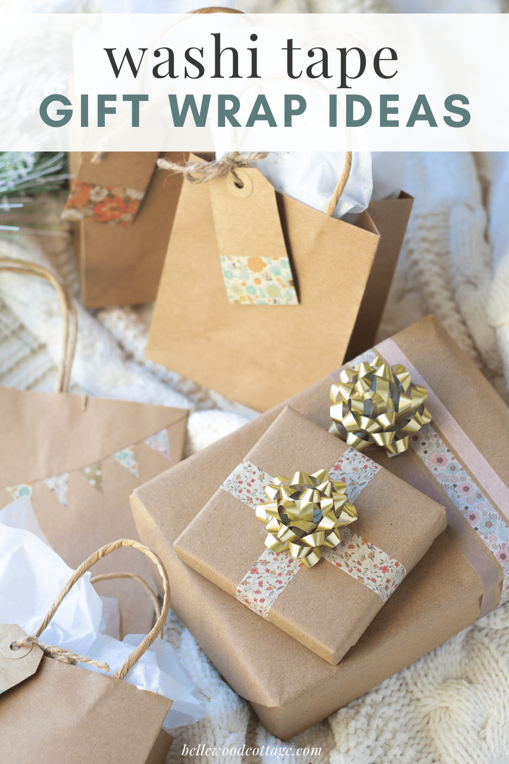 "Gifts wrapped with washi tape overlaid with the words, ""Washi Tape Gift Wrap Ideas."""