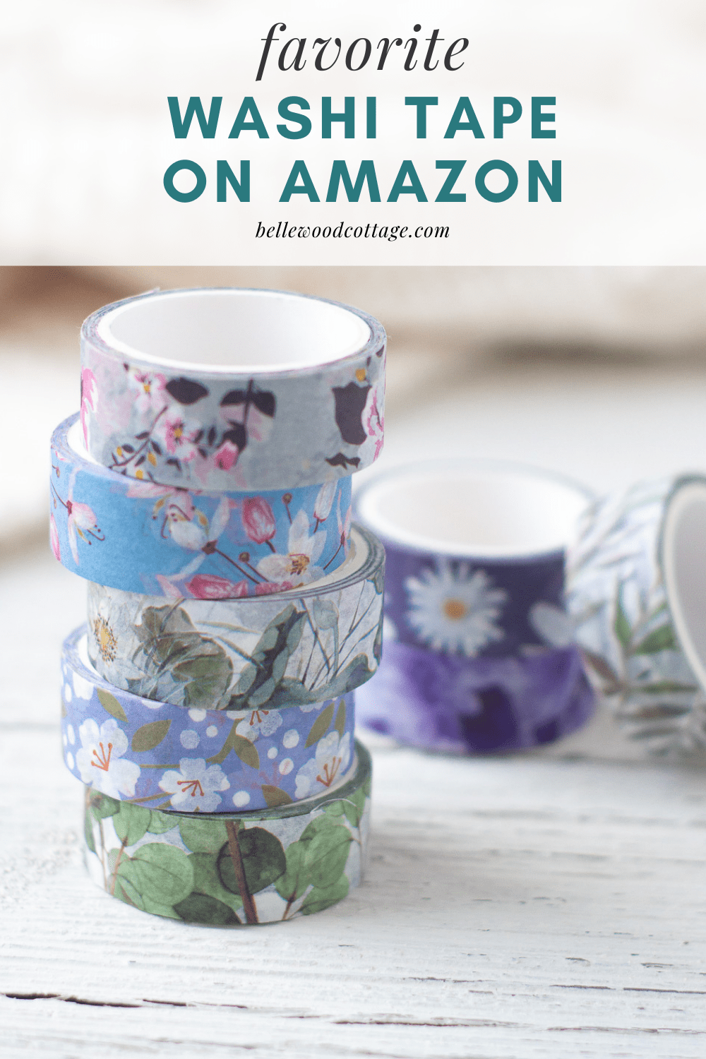 """A stack of colorful washi tape rolls with the words, """"favorite washi tape on amazon""""."""