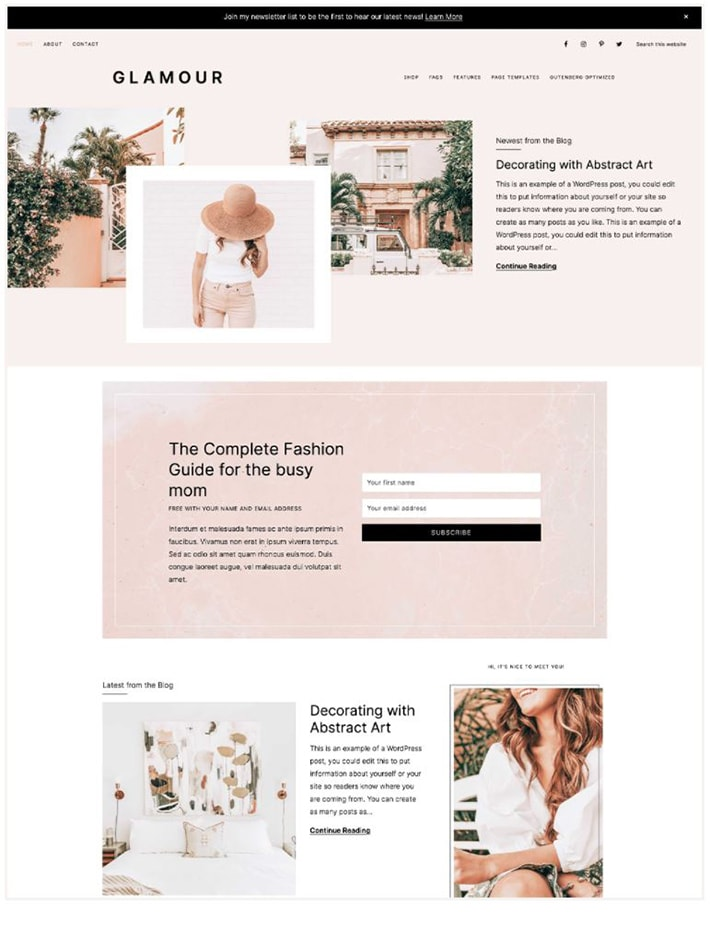 A screenshot of Glamour Theme for WordPress by Restored 316.