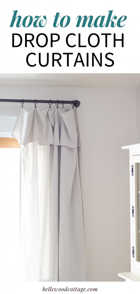 """Drop cloth curtains hanging in a dining room with the words, """"How to Make Drop Cloth Curtains"""""""