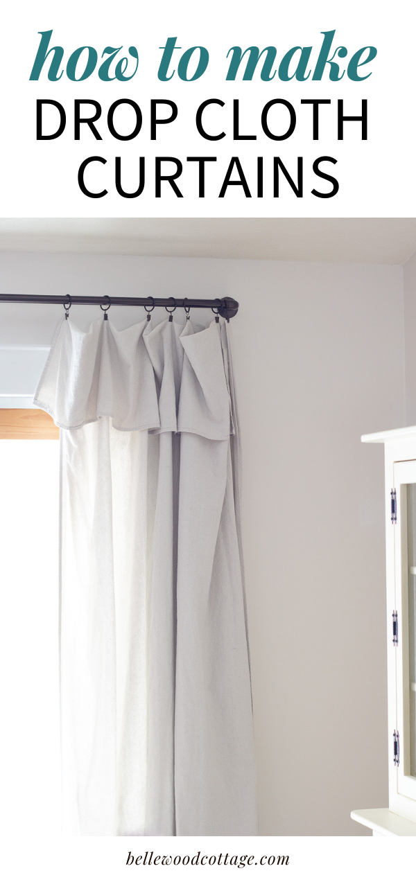 "Drop cloth curtains hanging in a dining room with the words, ""How to Make Drop Cloth Curtains"""