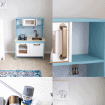 A collage image showing an IKEA play kitchen hack.