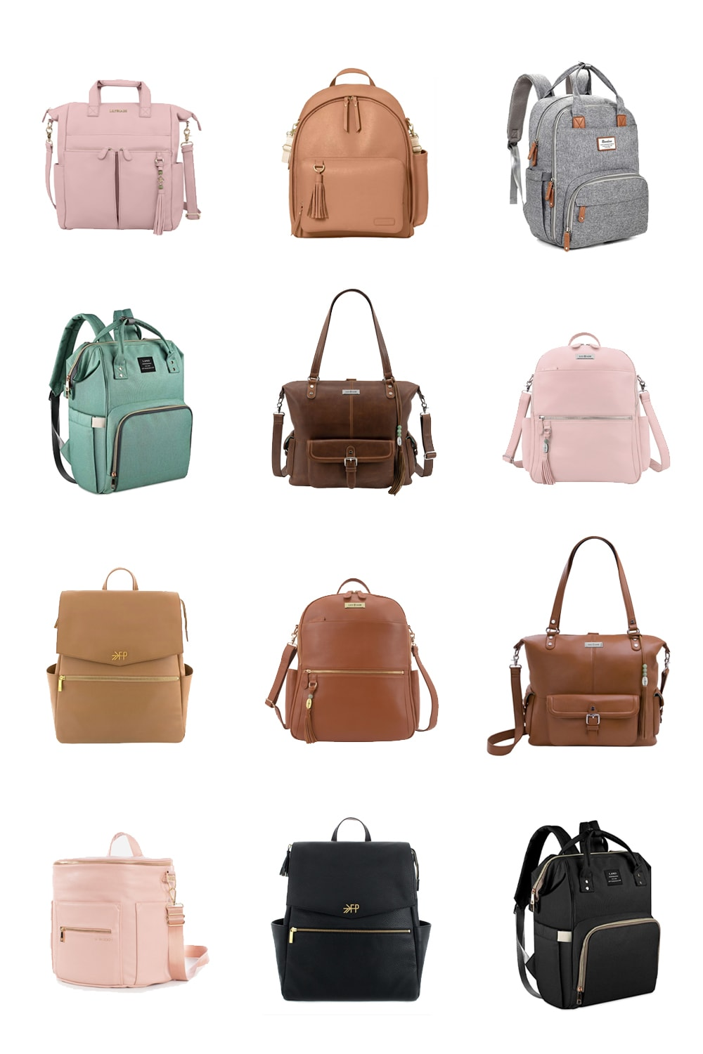 A collage image of 12 stylish diaper bag backpacks.