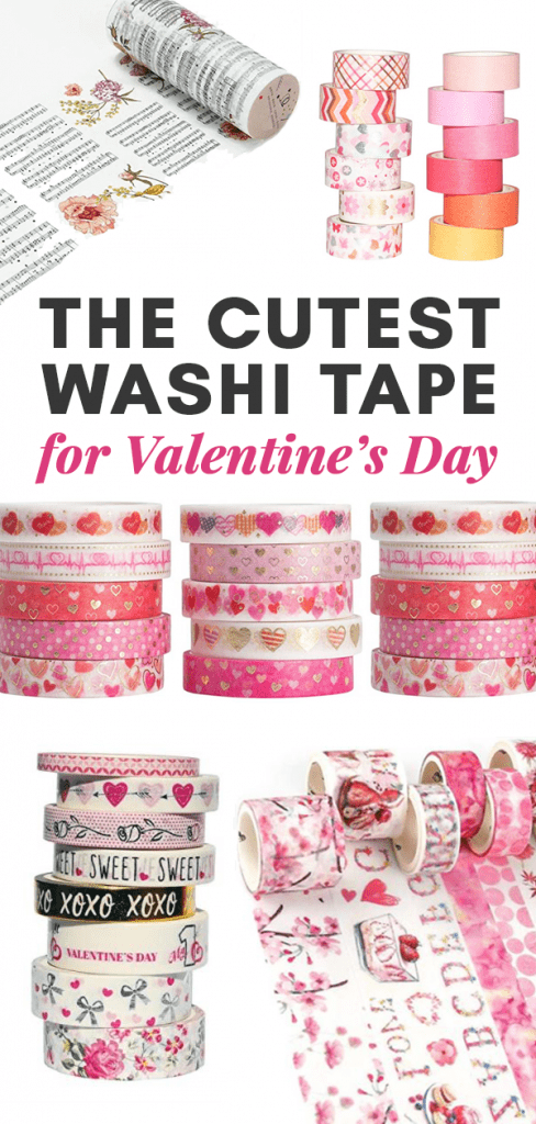 A collage of Valentine's Day Washi Tape.