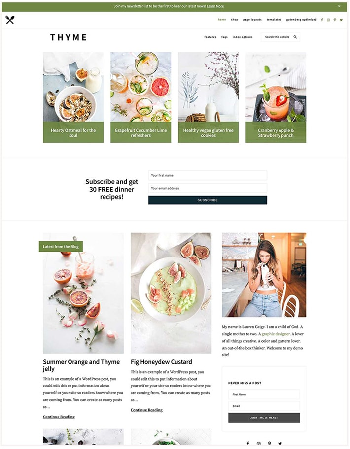 Screenshot of Thyme Theme for WordPress by Restored 316