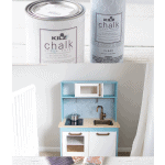 A collage of three images of an IKEA play kitchen and paint cans of KILZ Chalk Paint.