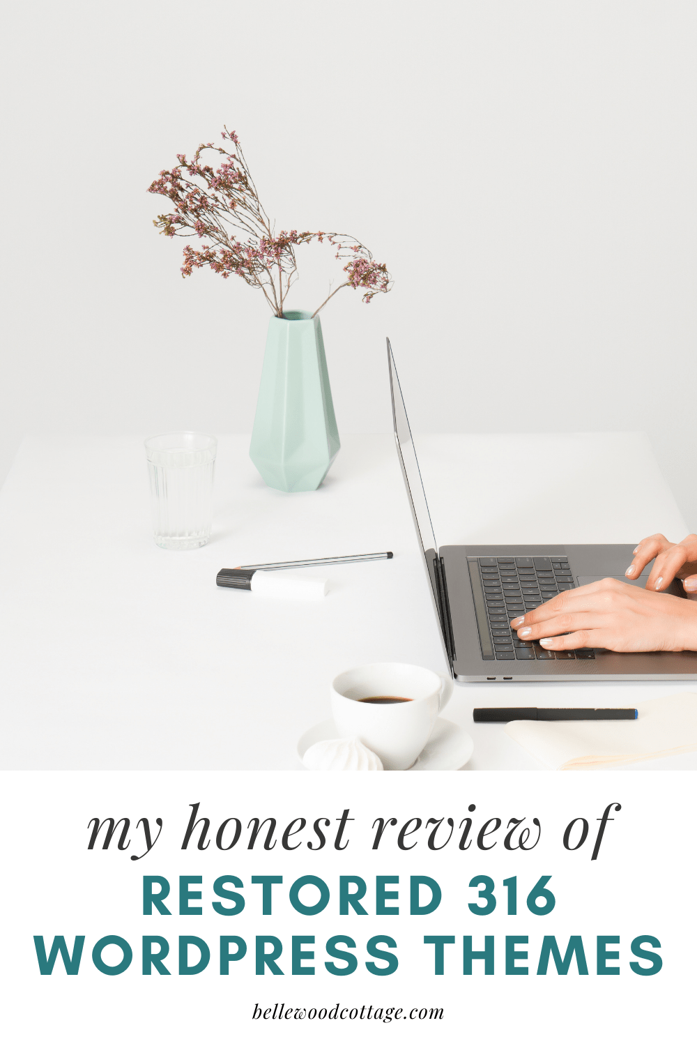 "A woman typing at a laptop with the words, ""my honest review of Restored 316 Wordpress Themes"""