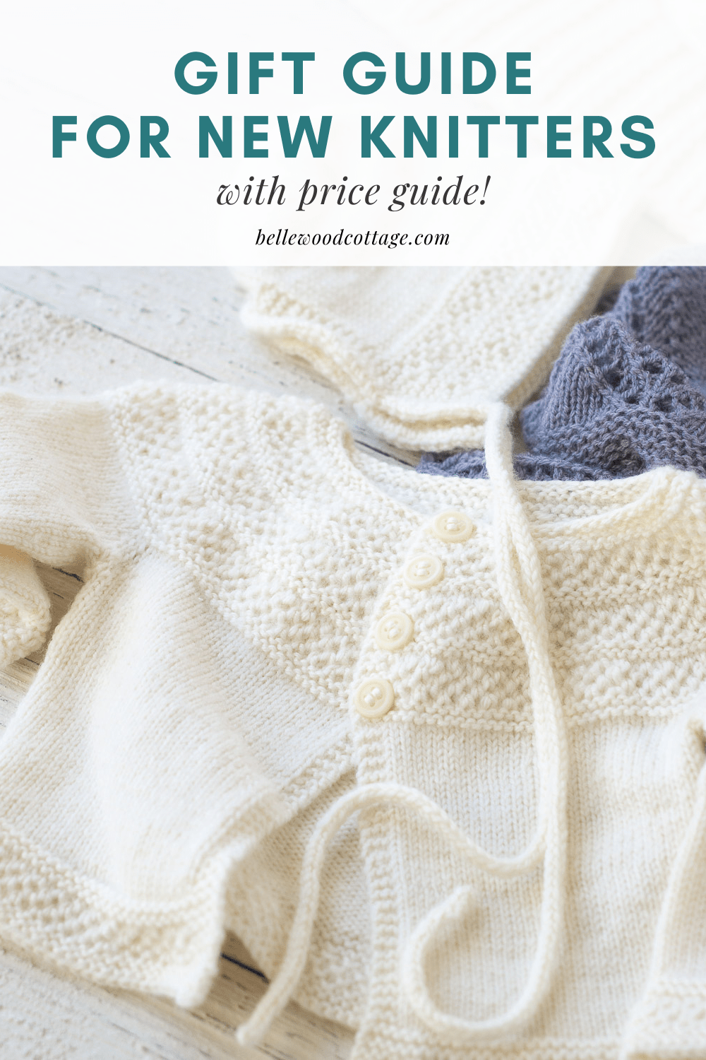 "Handknit sweaters with the words, ""Gift Guide for New Knitters"""