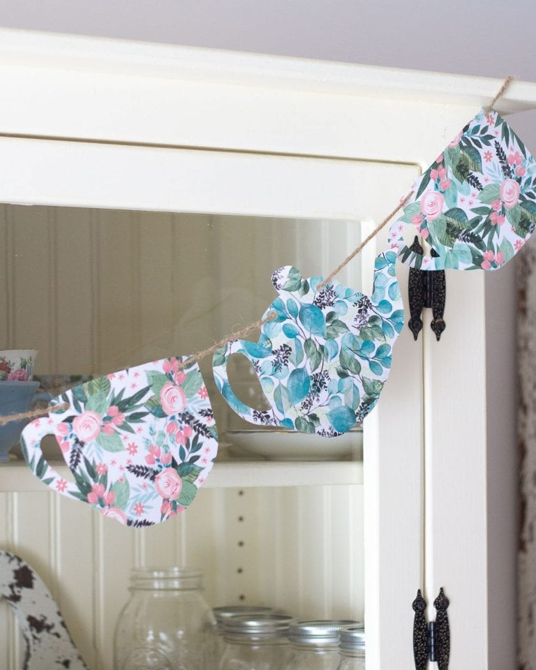 Easy Paper Teapot Garland…No Cutting Machine Required!