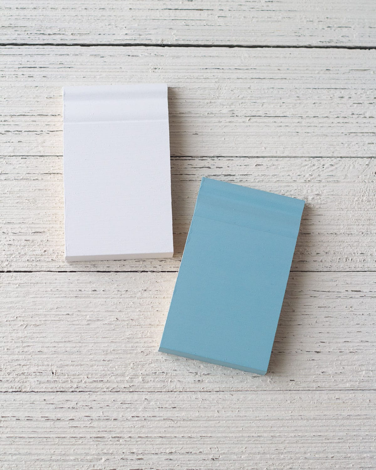 Chalk style paint samples without a top coat.