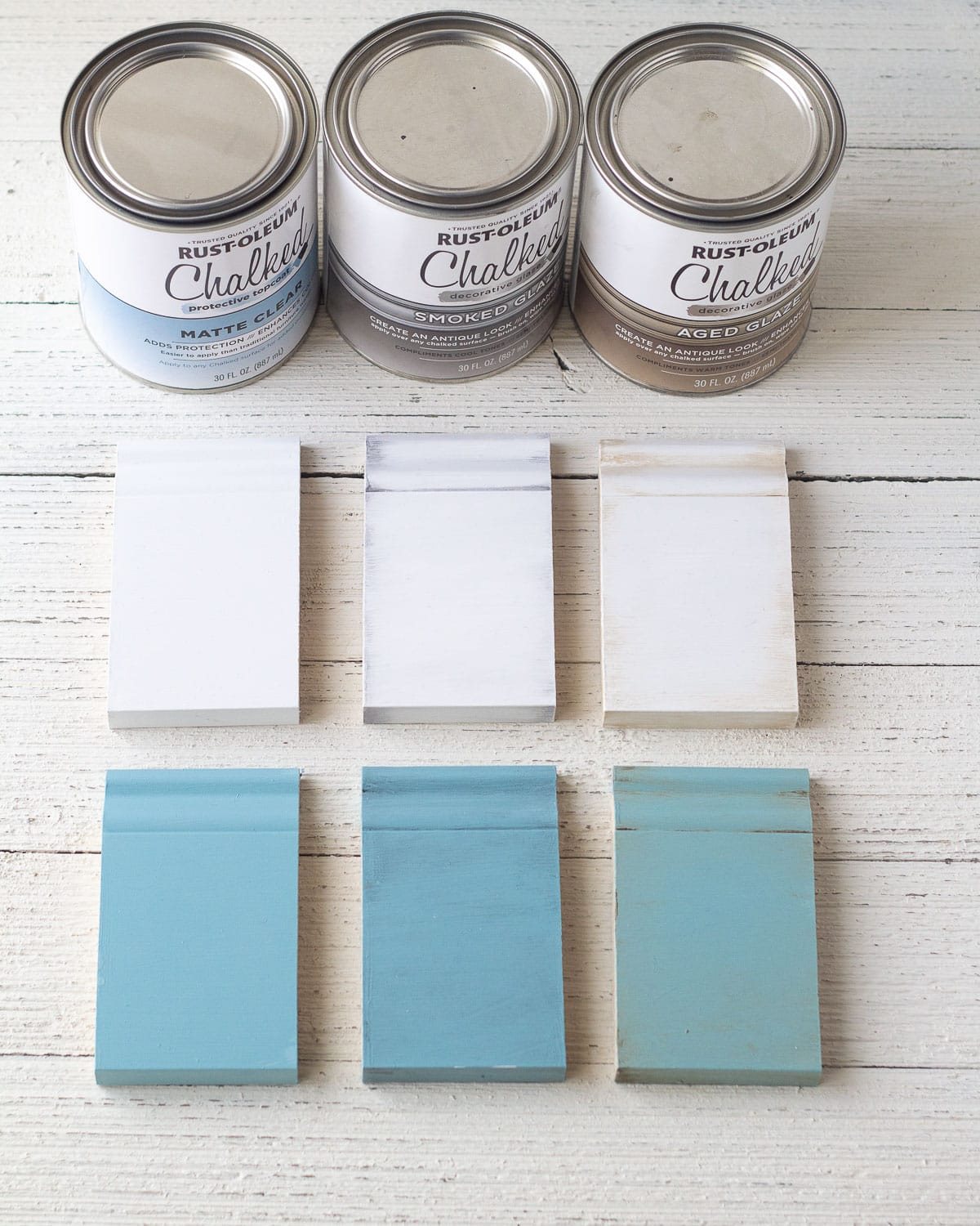 Showing how to seal chalk paint with three varieties of aging finish on six pieces of trim samples painted with chalk style paint.