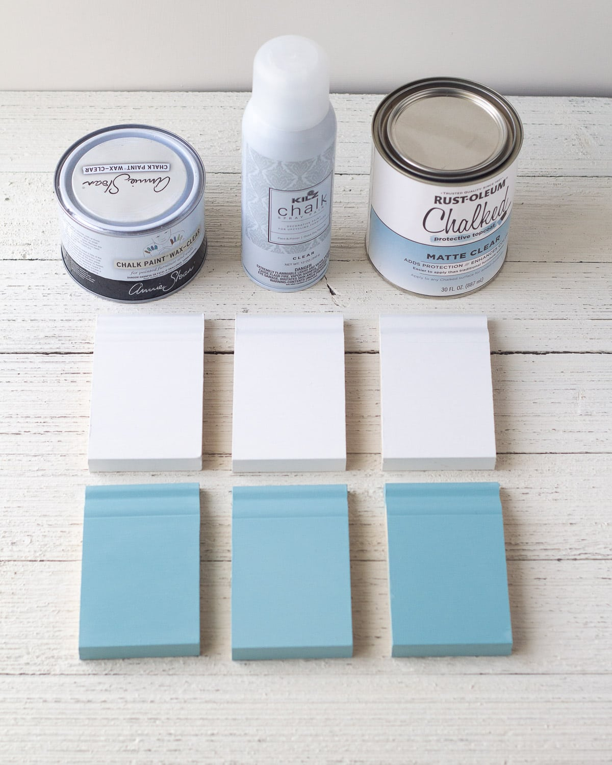 Showing how to seal chalk paint with three varieties of clear finishes on six small chalk paint samples.
