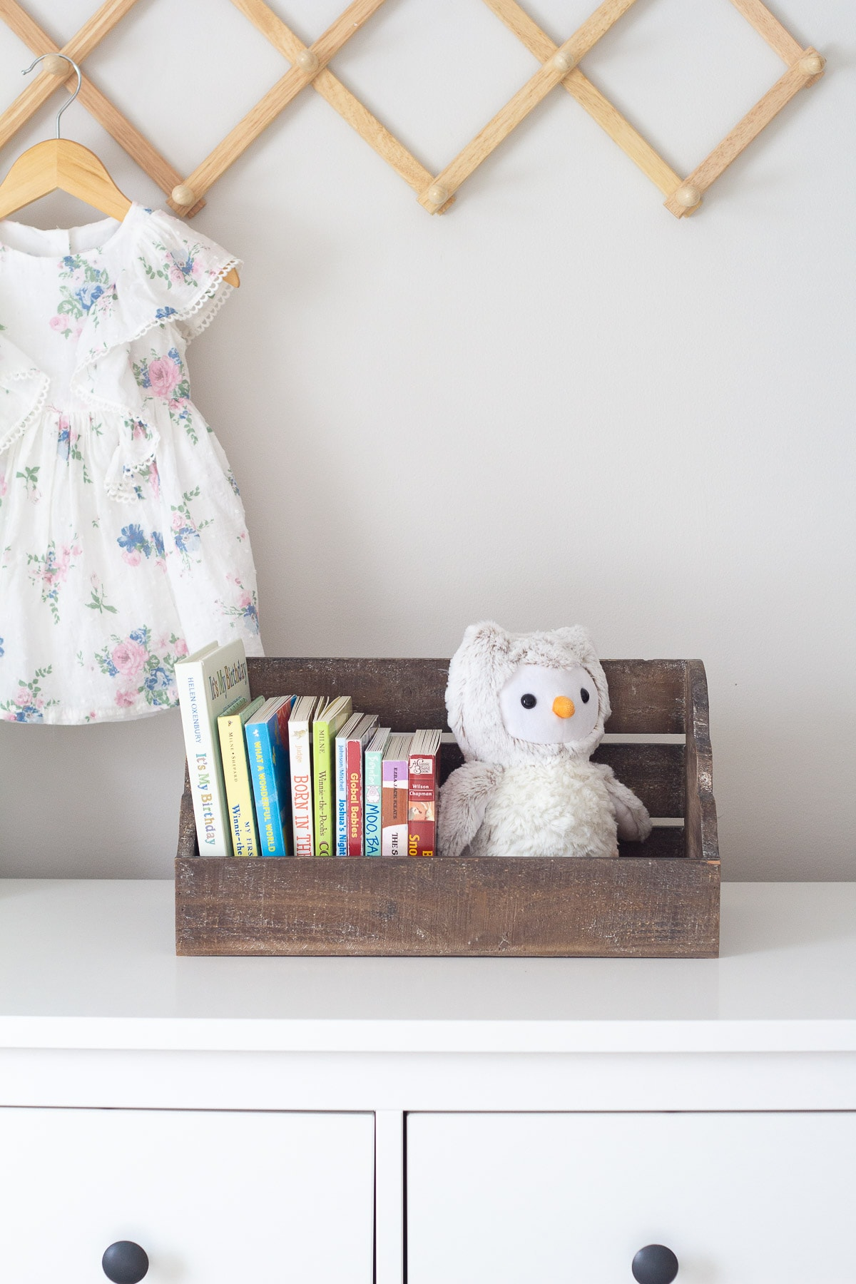 Kids book's displayed in a wall shelf cubby on a dresser.
